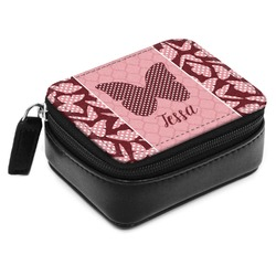 Polka Dot Butterfly Small Leatherette Travel Pill Case (Personalized)