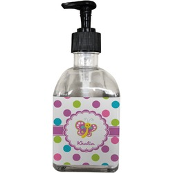 Polka Dot Butterfly Soap/Lotion Dispenser (Glass) (Personalized)