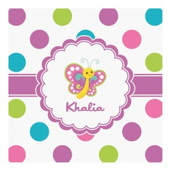 Polka Dot Butterfly Square Decal - Custom Size (Personalized)