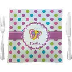 Polka Dot Butterfly Square Dinner Plate (Personalized)