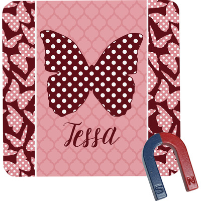 Polka Dot Butterfly Square Fridge Magnet (Personalized)