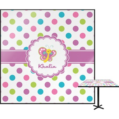 Polka Dot Butterfly Square Table Top - 24