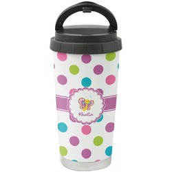 Polka Dot Butterfly Stainless Steel Travel Mug (Personalized)