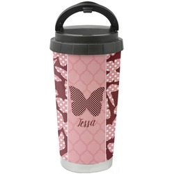Polka Dot Butterfly Stainless Steel Coffee Tumbler (Personalized)