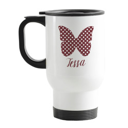 Polka Dot Butterfly Stainless Steel Travel Mug with Handle