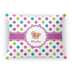 Polka Dot Butterfly Rectangular Throw Pillow Case (Personalized)