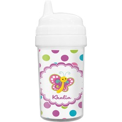 Polka Dot Butterfly Toddler Sippy Cup (Personalized)