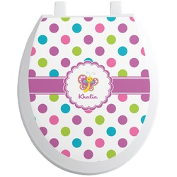 Polka Dot Butterfly Toilet Seat Decal (Personalized)