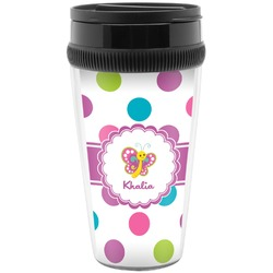 Polka Dot Butterfly Travel Mug (Personalized)