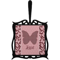 Polka Dot Butterfly Trivet with Handle (Personalized)