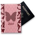 Polka Dot Butterfly Vinyl Passport Holder (Personalized)