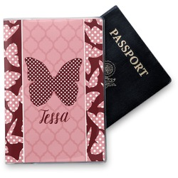 Polka Dot Butterfly Vinyl Passport Holder (Personalized)