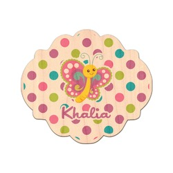 Polka Dot Butterfly Genuine Wood Sticker (Personalized)