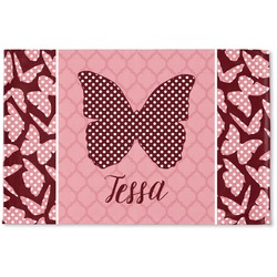 Polka Dot Butterfly Woven Mat (Personalized)