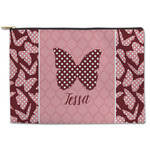 Polka Dot Butterfly Zipper Pouch (Personalized)