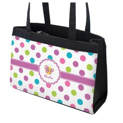 Polka Dot Butterfly Zippered Everyday Tote (Personalized)