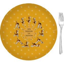 "Yoga Dogs Sun Salutations 8"" Glass Appetizer / Dessert Plates - Single or Set (Personalized)"