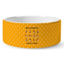 Yoga Dogs Sun Salutations Ceramic Dog Bowl (Personalized)