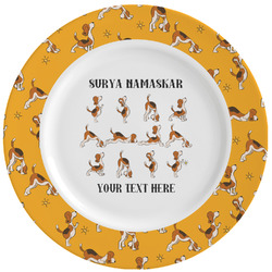 Yoga Dogs Sun Salutations Ceramic Dinner Plates (Set of 4) (Personalized)