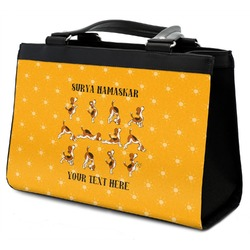Yoga Dogs Sun Salutations Classic Tote Purse w/ Leather Trim w/ Name or Text
