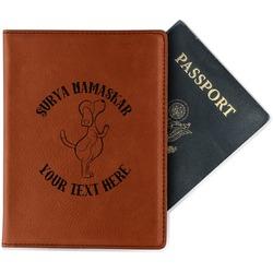 Yoga Dogs Sun Salutations Leatherette Passport Holder - Single Sided (Personalized)