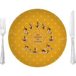 """Yoga Dogs Sun Salutations Glass Lunch / Dinner Plates 10"""" - Single or Set (Personalized)"""