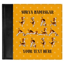 Yoga Dogs Sun Salutations Genuine Leather Baby Memory Book (Personalized)