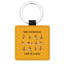Yoga Dogs Sun Salutations Genuine Leather Rectangular Keychain (Personalized)