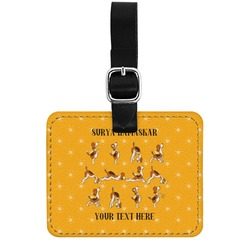 Yoga Dogs Sun Salutations Genuine Leather Rectangular  Luggage Tag (Personalized)