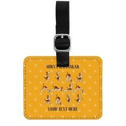 Yoga Dogs Sun Salutations Genuine Leather Rectangular  Luggage Tag (Personalized)