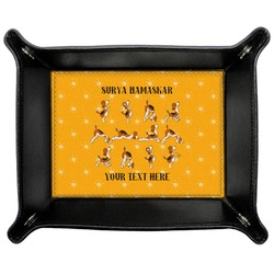 Yoga Dogs Sun Salutations Genuine Leather Valet Tray (Personalized)