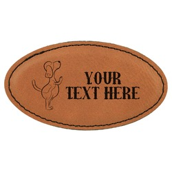 Yoga Dogs Sun Salutations Leatherette Oval Name Badge with Magnet (Personalized)