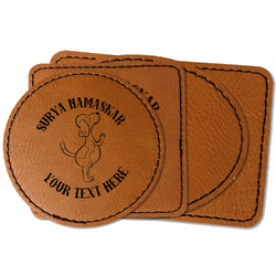 Yoga Dogs Sun Salutations Faux Leather Iron On Patch (Personalized)