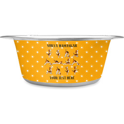 Yoga Dogs Sun Salutations Stainless Steel Dog Bowl (Personalized)