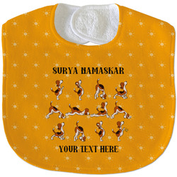 Yoga Dogs Sun Salutations Velour Baby Bib w/ Name or Text