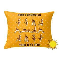 Yoga Dogs Sun Salutations Outdoor Throw Pillow (Rectangular) (Personalized)