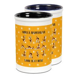 Yoga Dogs Sun Salutations Ceramic Pencil Holder - Large