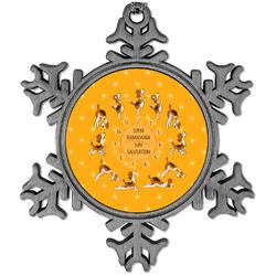 Yoga Dogs Sun Salutations Vintage Snowflake Ornament (Personalized)