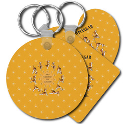 Yoga Dogs Sun Salutations Plastic Keychains (Personalized)