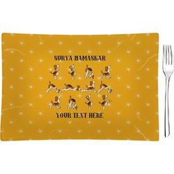 Yoga Dogs Sun Salutations Glass Rectangular Appetizer / Dessert Plate - Single or Set (Personalized)