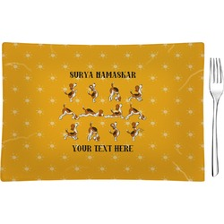 Yoga Dogs Sun Salutations Glass Rectangular Appetizer / Dessert Plate - Single or Set (Personalized)