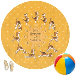 Yoga Dogs Sun Salutations Round Beach Towel (Personalized)
