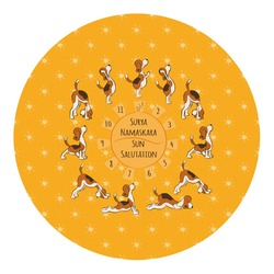Yoga Dogs Sun Salutations Round Decal - Custom Size (Personalized)