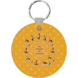 Yoga Dogs Sun Salutations Round Keychain (Personalized)