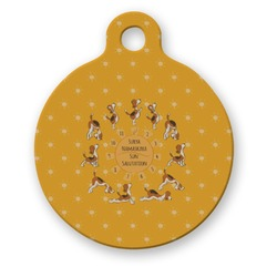 Yoga Dogs Sun Salutations Round Pet Tag (Personalized)