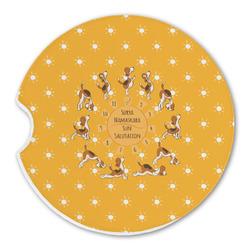 Yoga Dogs Sun Salutations Sandstone Car Coasters (Personalized)