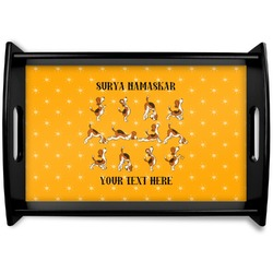Yoga Dogs Sun Salutations Black Wooden Tray (Personalized)