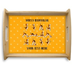 Yoga Dogs Sun Salutations Natural Wooden Tray - Large (Personalized)
