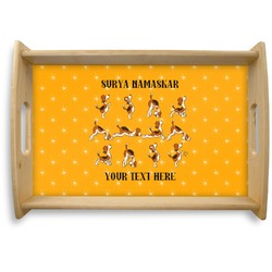 Yoga Dogs Sun Salutations Natural Wooden Tray - Small (Personalized)