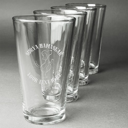 Yoga Dogs Sun Salutations Beer Glasses (Set of 4) (Personalized)